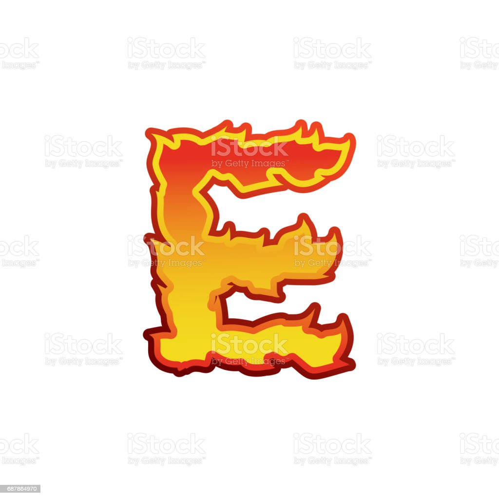 Feu De La Lettre E Lettrage De Flammes De Polices Tatouage Alphabet