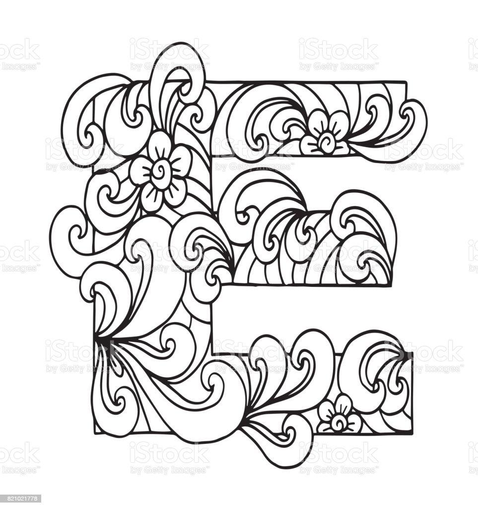 Letra E Para Colorear Objeto Decorativo De Vector Ilustración ...