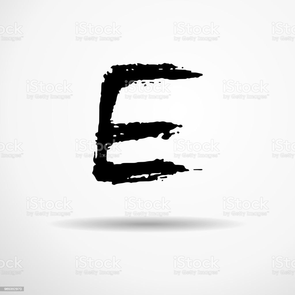 Letter E. Handwritten by dry brush. Rough strokes textured font. Vector illustration. Grunge style alphabet. royalty-free letter e handwritten by dry brush rough strokes textured font vector illustration grunge style alphabet stock vector art & more images of alphabet