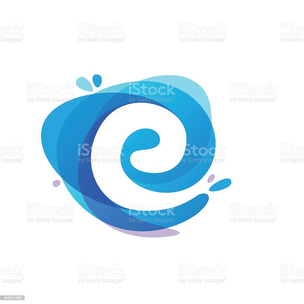 Letter E Icon At Blue Water Splash Background Stock Vector Art