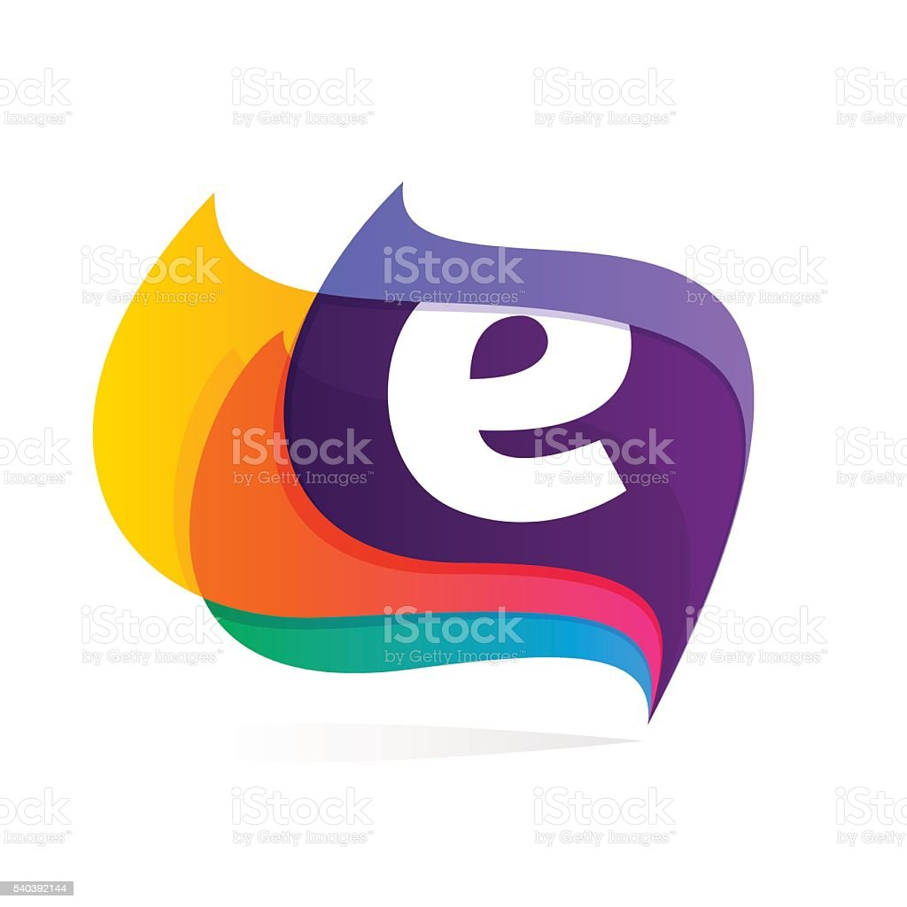 Letter E in feather or flags icon. vector art illustration
