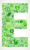 Letter E Money and Finance Green Vector Icon Background. This money and finance vector composition features the main design element in the center and is surrounded by a variety of green icons. The icons include such popular financial items as money, dollar, and dollar bill, coins, and many more. Figures of man and women are also present to give the background a human touch. Ideal for wealth, business and money concepts.