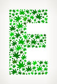 Letter E on Marijuana royalty free vector art Pattern