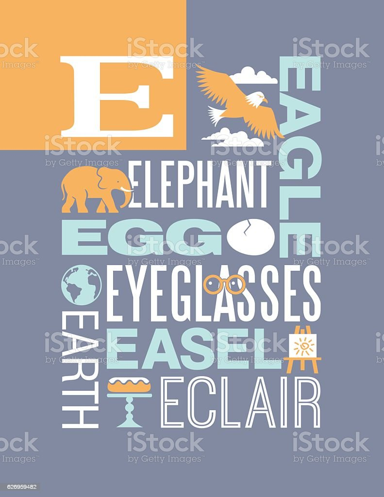 Letter E Poster Illustrations And Words That Start With E stock
