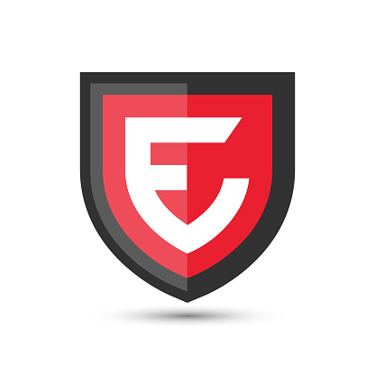 Letter E Protect Shield Logo Icon Template. Vector Emblem. Abstract symbol of security.