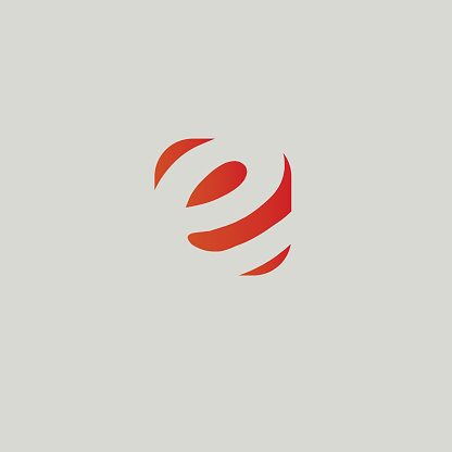 letter e red inside box element design