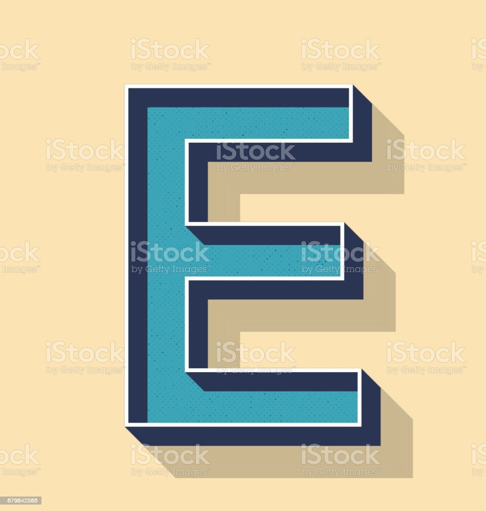 Letter E Retro Vector Text Style Fonts Concept Stock Vector Art