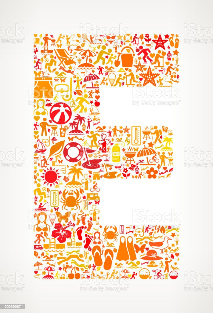 Letter E Summer and Vacation royalty free vector art Pattern royalty-free stock vector art