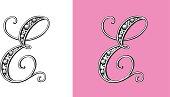 Letter E, Typo, Alphabet, Enluminure, Ornement,  Manuscrite, Rétro, Bijoux