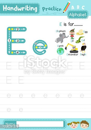 istock Letter E uppercase and lowercase tracing practice worksheet A4 1208291375