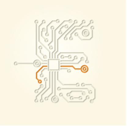 Letter E (Cut out electronic conductive tracks)