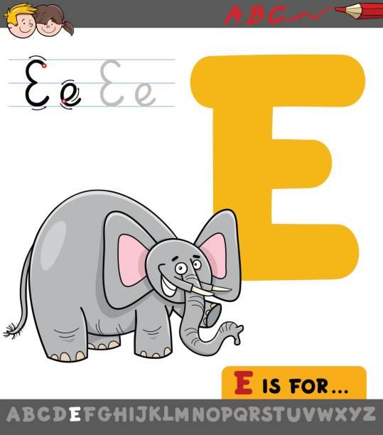 illustrations, cliparts, dessins animés et icônes de lettre e avec éléphant cartoon - enseignant(e) en maternelle