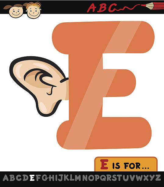 illustrations, cliparts, dessins animés et icônes de lettre e avec oreille cartoon illustration - enseignant(e) en maternelle