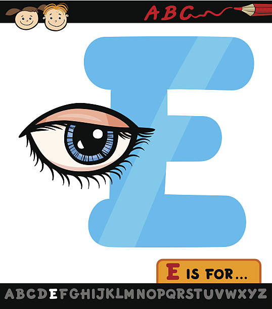 illustrations, cliparts, dessins animés et icônes de lettre e avec illustration de dessin animé pour le contour des yeux - enseignant(e) en maternelle