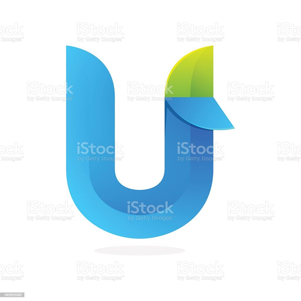 U letter eco icon vector art illustration
