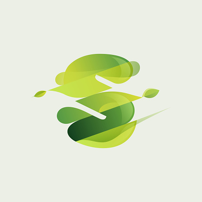S letter eco logo with green diagonal stripes, leaves and waves.