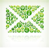 Letter Environmental Conservation Green Vector Button Pattern.