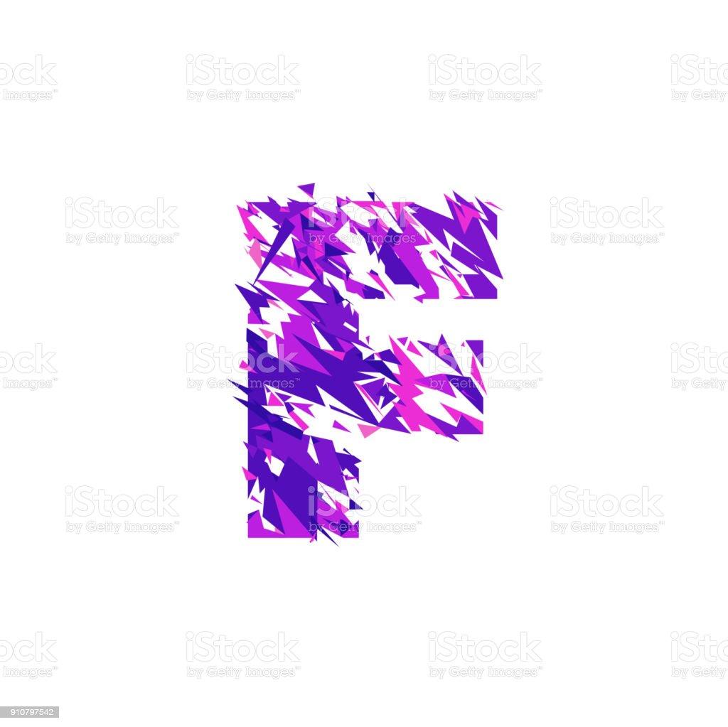 Letter F, broken into a splinters. vector art illustration