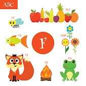 Letter F. Cartoon alphabet for children. Flower, fox, fire, frog, fish, fruit, fly. Vector illustration