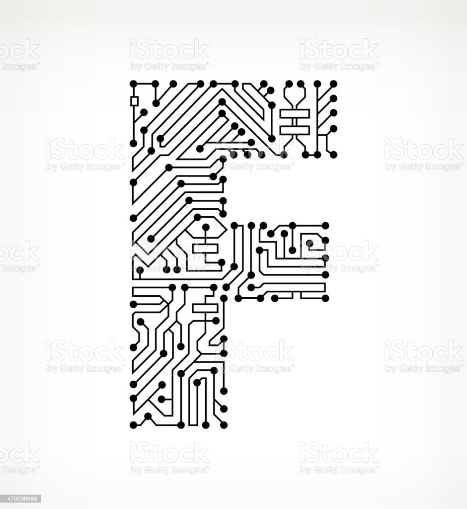 letter f circuit board on white background stock vector art  u0026 more images of alphabet