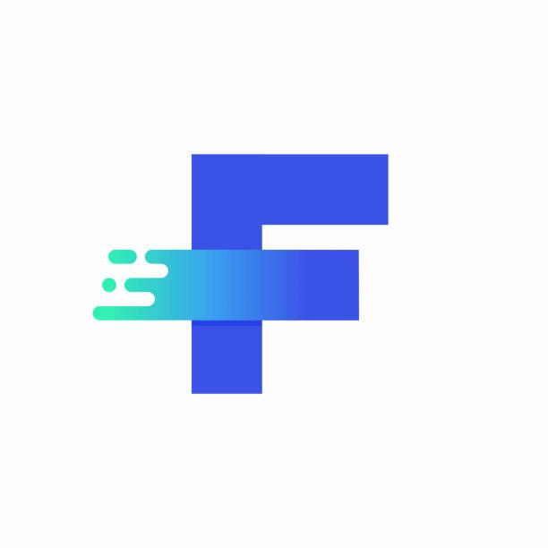 Letter F Design Vector In Blue Green Gradient vector art illustration