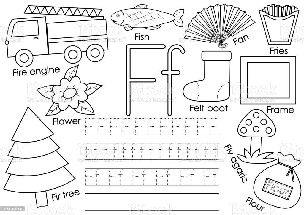 Feutre Coloriage En Anglais.Alphabet Anglais Du F Lettre Jeu Educatif Pour Les Enfants Pratique