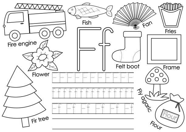 brief f. englische alphabet. lernspiel für kinder. schreibpraxis. malbuch. vektor-illustration. - filzarbeiten stock-grafiken, -clipart, -cartoons und -symbole