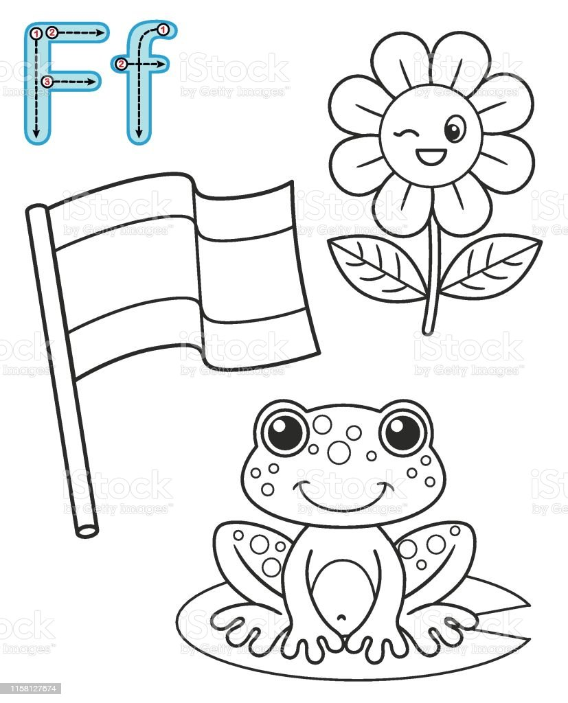 Astounding Letter F Flag Frog Flower Vector Coloring Book Alphabet Interior Design Ideas Gentotthenellocom