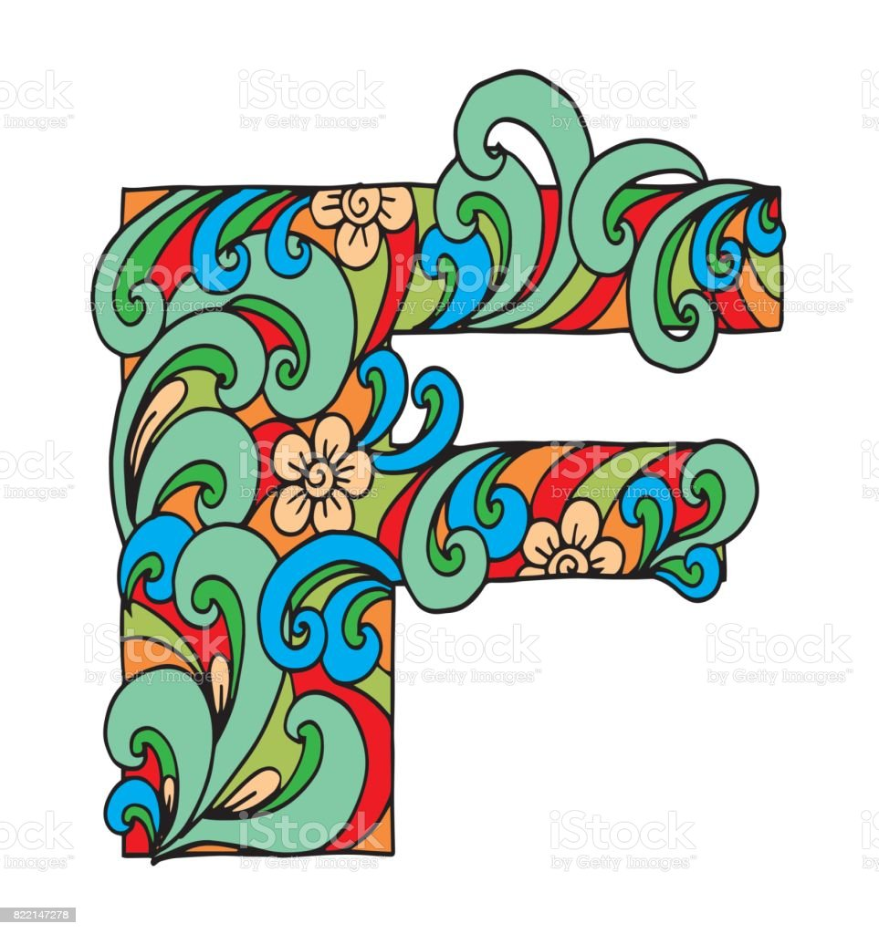 Letter F For Coloring Vector Decorative Object Illustration Computer ...