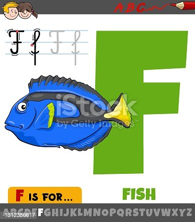 istock letter F from alphabet with cartoon fish animal character 1312356617