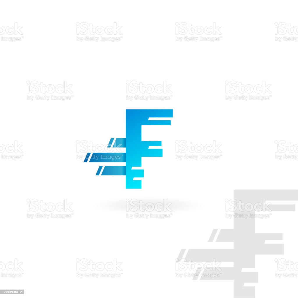 Letter F Logo Blue Distorted Vector Icon Speed Concept Font Royalty Free