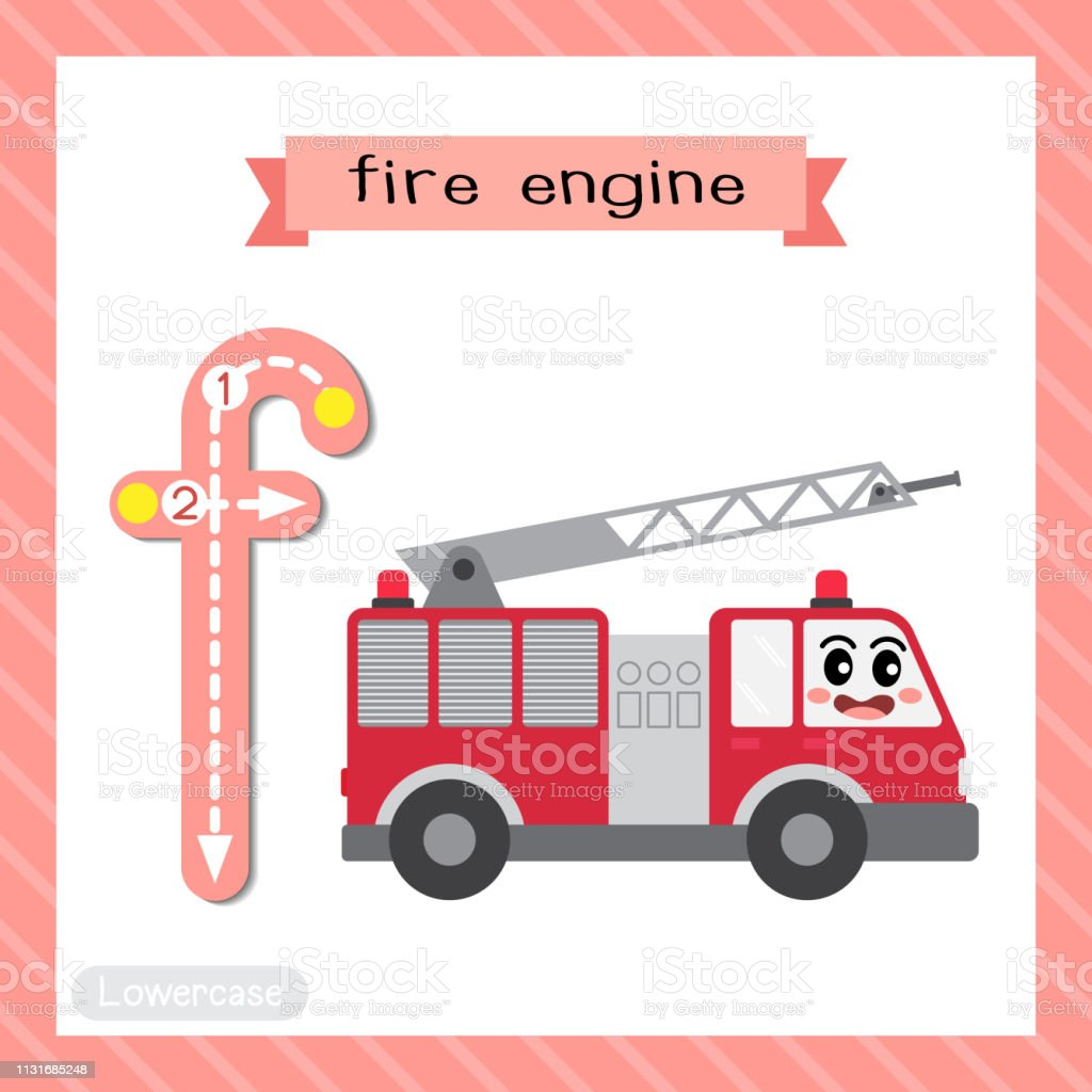 19942b25910a7 Letter F lowercase tracing. Fire Engine royalty-free letter f lowercase  tracing fire engine