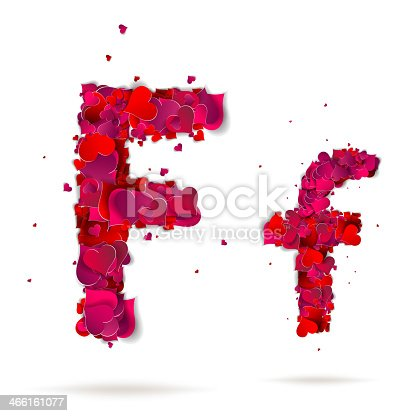 Letter f made from hearts. Love alphabet