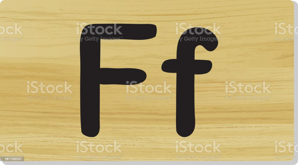 Letter F on board royalty-free stock vector art