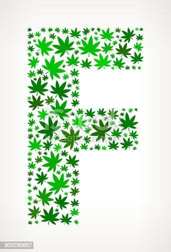 Letter F On Marijuana Royalty Free Vector Art Pattern