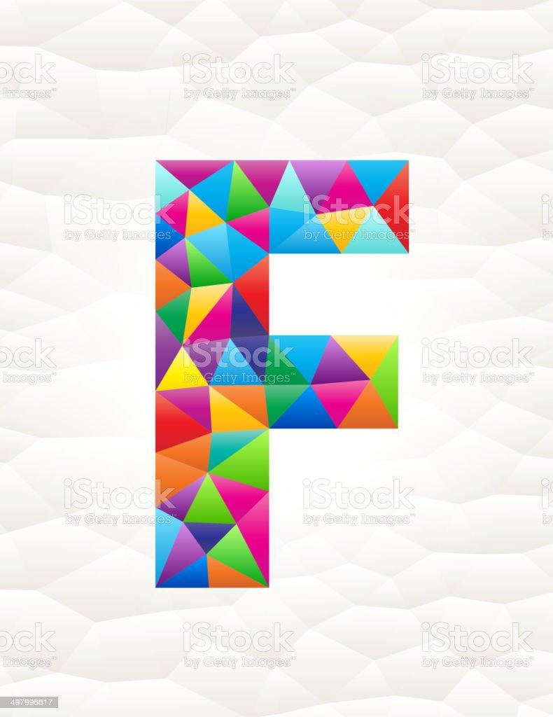 Letter F on triangular pattern mosaic royalty free vector art royalty-free stock vector art