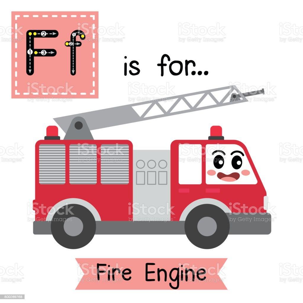 Letter F tracing. Fire Engine vector art illustration