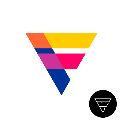 Letter f triangle logo with overlay opacity.