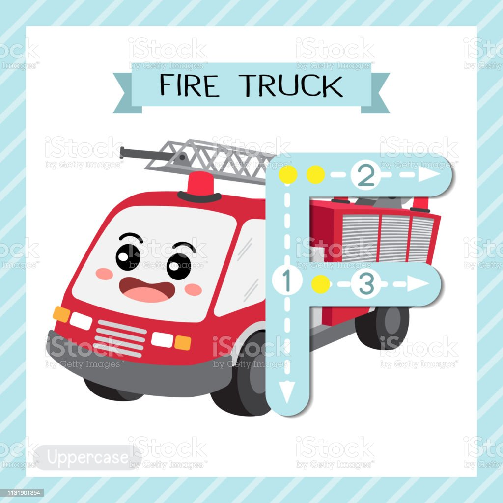 6fce63b8e3631 Letter F uppercase tracing. Fire Truck royalty-free letter f uppercase  tracing fire truck