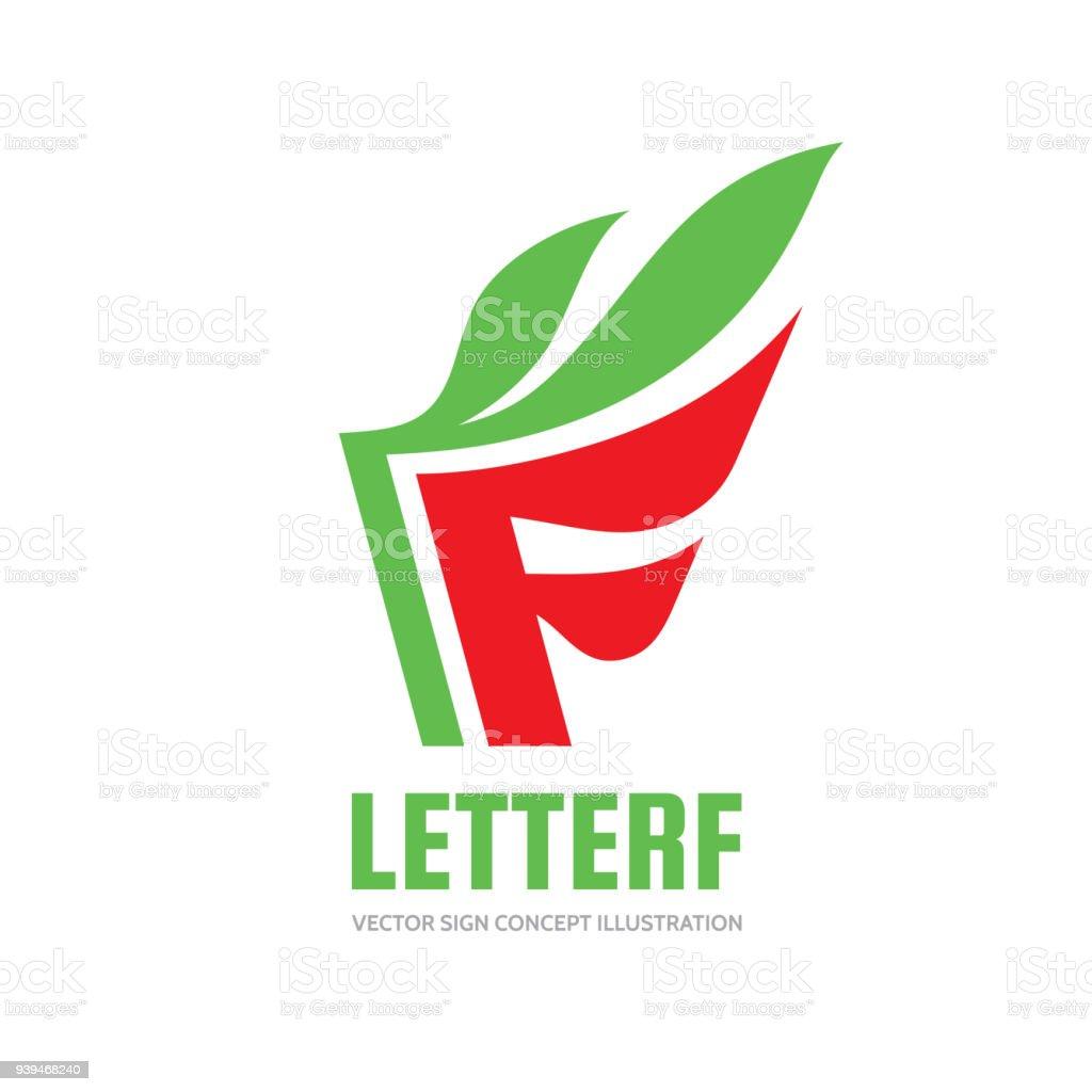885e4c99c17bb Letra F - vector business muestra plantilla concepto ilustración. Signo  creativo de hojas verdes.