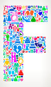 Letter F Wedding and Love Vector Graphic. The main object of this royalty free illustration is the composed of colorful vector icon pattern. These color wedding and love icons vary in size and form a seamless composition. The icons are white in color. This illustration is conceptual and ideal for love, wedding, marriage and relationship graphics. Each icon can be used independently from the background set.