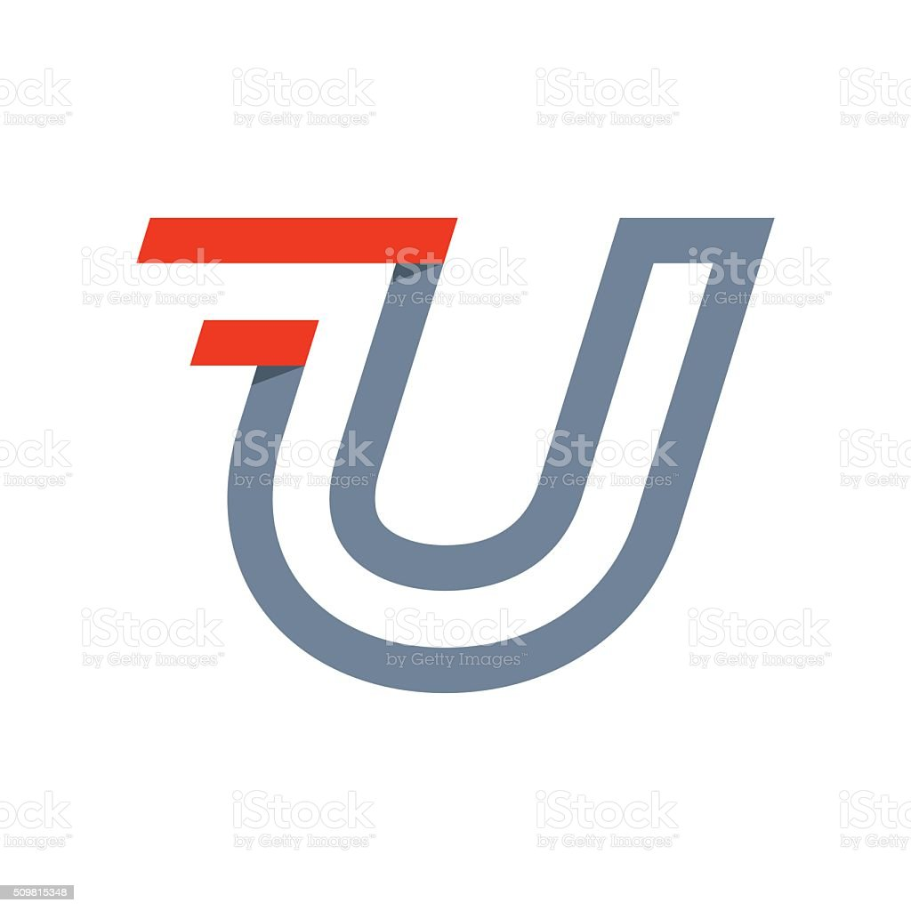U letter fast speed icon. vector art illustration