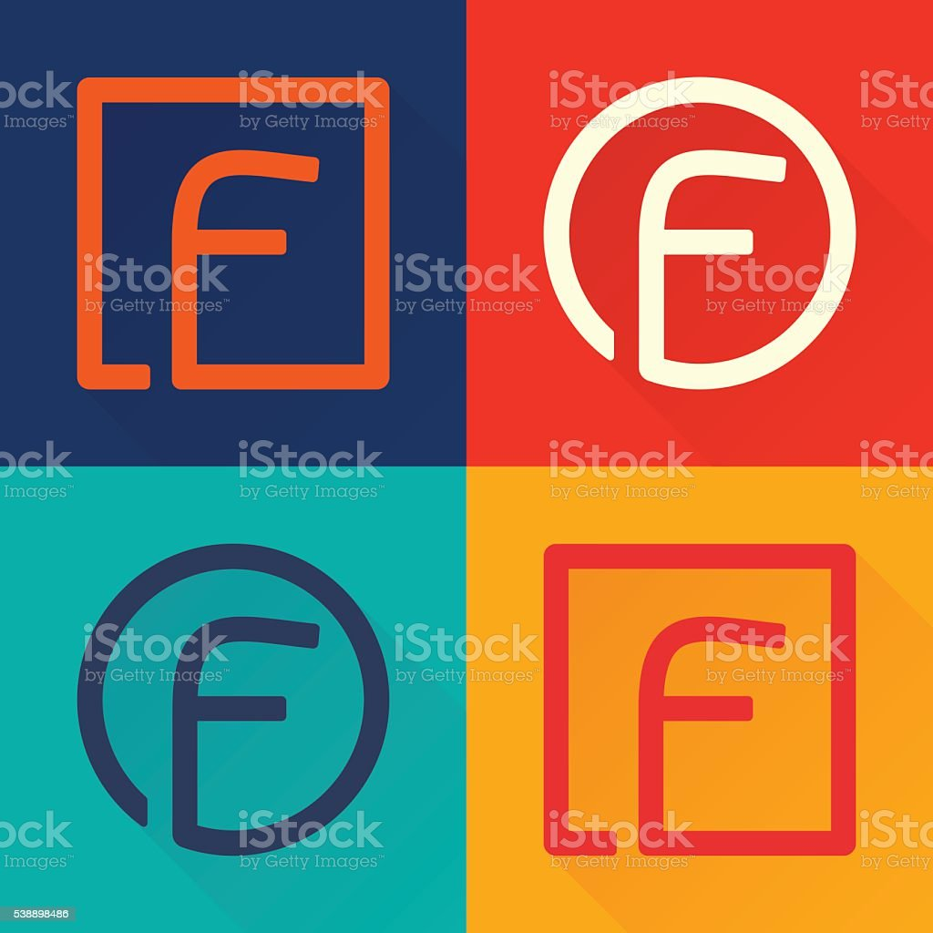 F letter flat icon in circle and square. vector art illustration