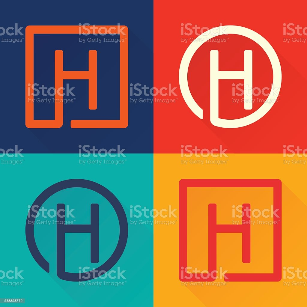 H letter flat icon in circle and square. vector art illustration