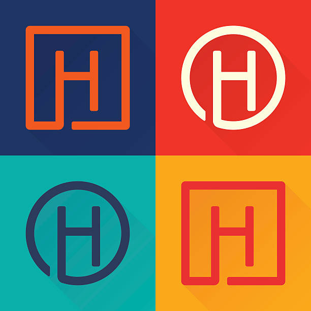 h letter flat icon in circle and square. - h harfi stock illustrations, clip art, cartoons, & icons