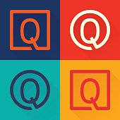 Q letter flat icon in circle and square.