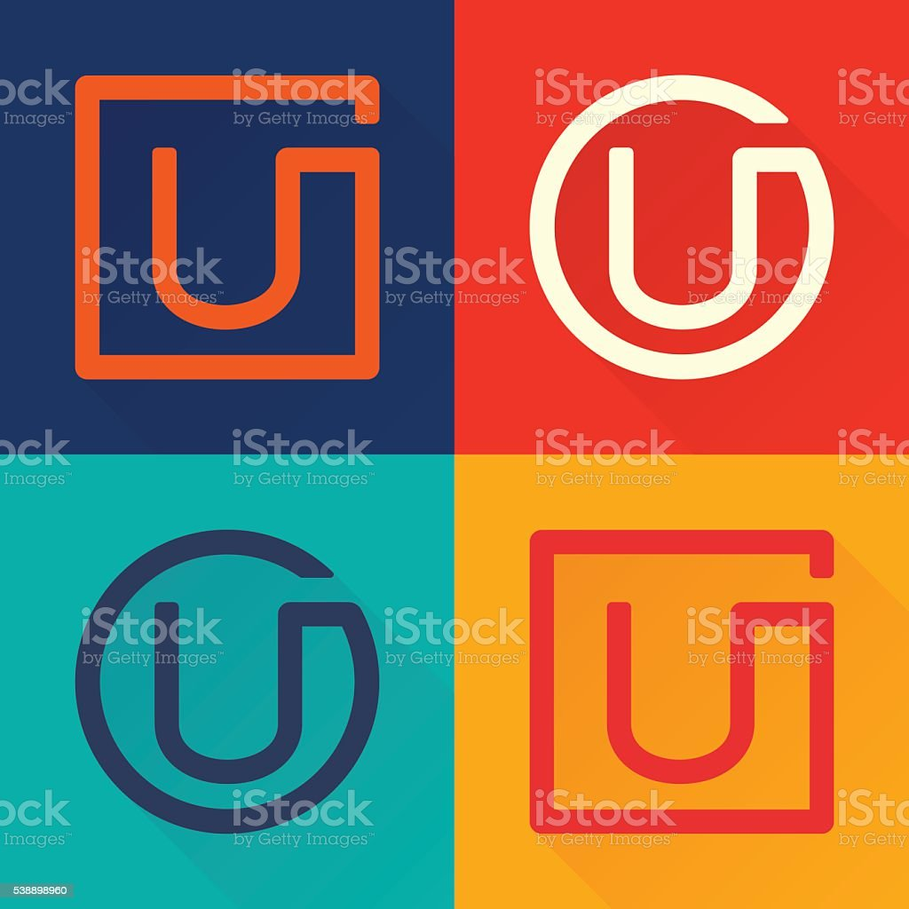 U letter flat icon in circle and square. vector art illustration