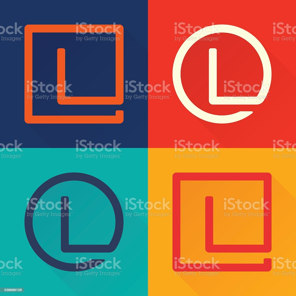 L letter flat icon in circle and square. vector art illustration