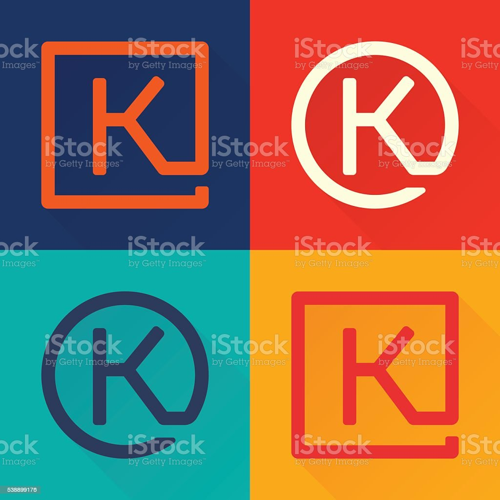 K letter flat icon in circle and square. vector art illustration