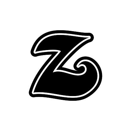Z letter font decorative hand drawn lettering, alphabet vector letter